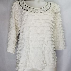 JANERIC WHITE RUFFLE BLOUSE SILVER STUDS PM